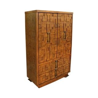 Mid-Century Modern Brutalist Armoire Dresser