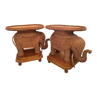 Wicker Elephant Garden Side Tables - A Pair