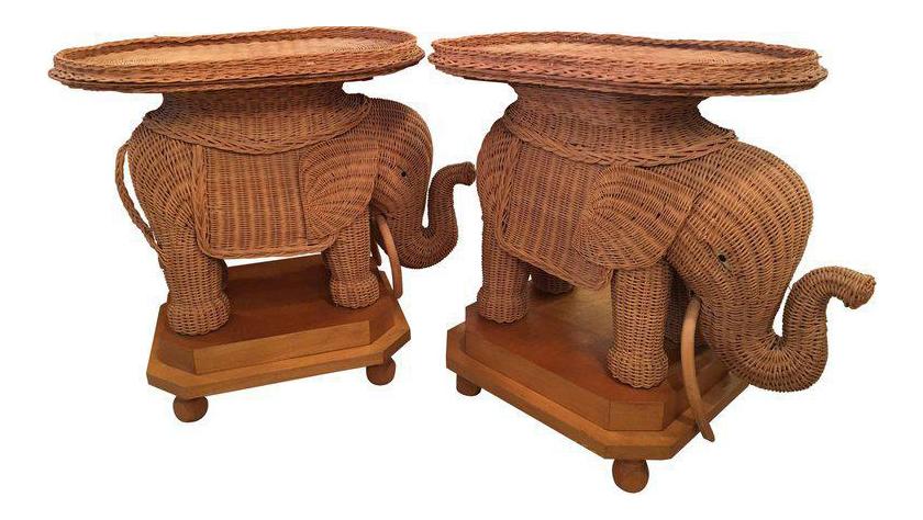 Wicker Elephant Garden Side Tables   A Pair