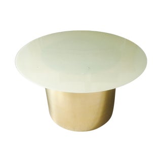 Brass & Glass Drum Table