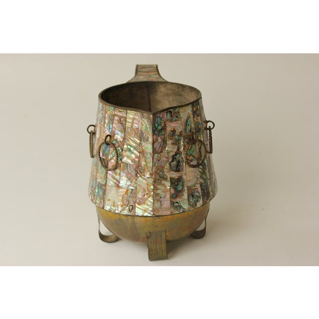 Salvador Teran Abalone Shell & Brass Pitcher - Image 3 of 7