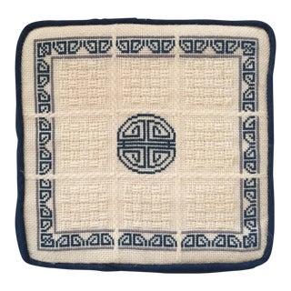 Blue & White Chinoiserie Needlepoint Pillow