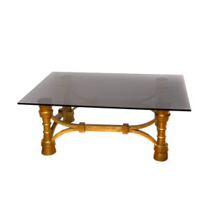 Deco Smoked Glass & Antique Gold Coffee Table