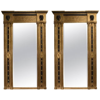 Pair of Regency Giltwood and Ebonized Wall Mirrors