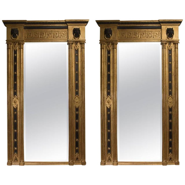 Pair of Regency Giltwood and Ebonized Wall Mirrors - Image 1 of 7