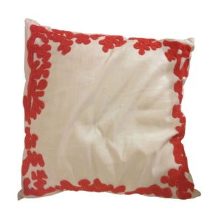 Silk Throw Pillow with Embroidered Coral Detail