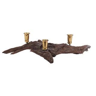 Mid-Century Driftwood & Brass Candleholder
