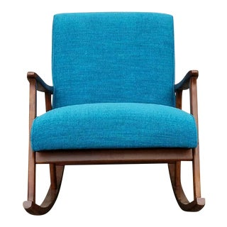 Mid-Century Aqua Rocking Chair
