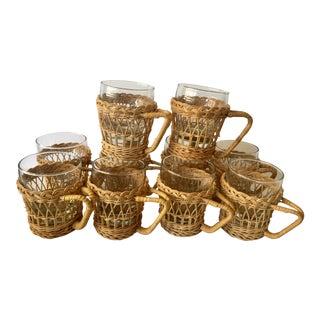 Vintage Glass & Wicker Mugs - Set of 10