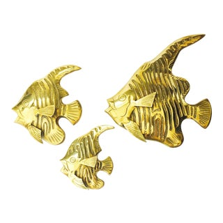 Vintage Brass Angel Fish Wall Hangings - Set of 3