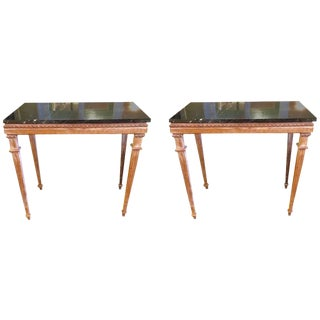 Carved Distressed Wood & Black Marble Consoles - a Pair