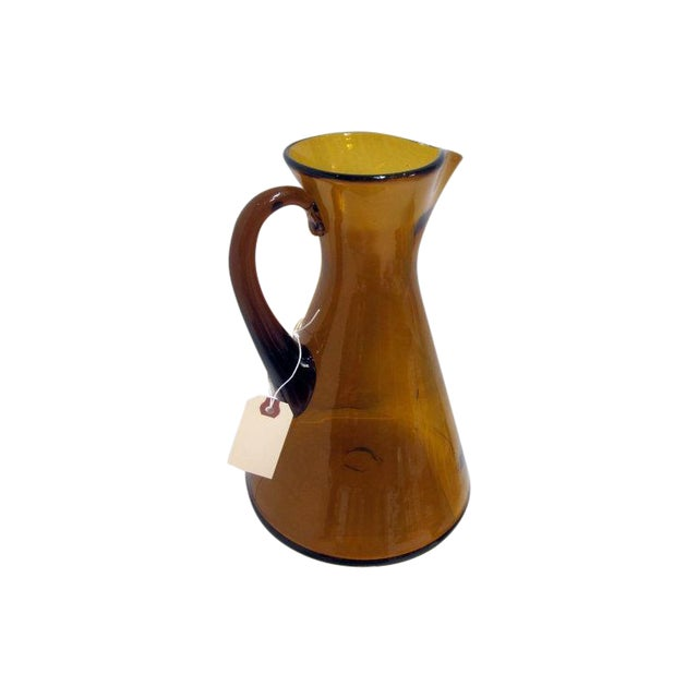 Modernist Amber Blenko Glass Vase Pitcher - Image 1 of 5