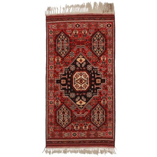 RugsinDallas Vintage Afghan Hand Knotted Wool Area Rug