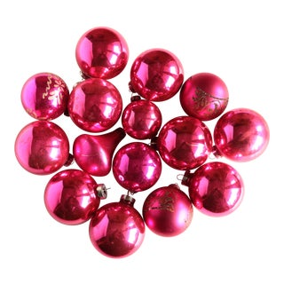 Hot Pink Mercury Glass Christmas Ornaments - Set of 15
