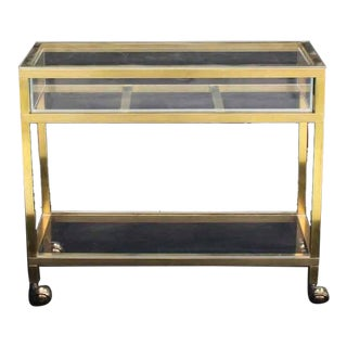 Brass and Lucite Cart Showcase