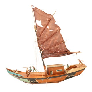 Vintage Folk Art Fishing Boat from Vietnam