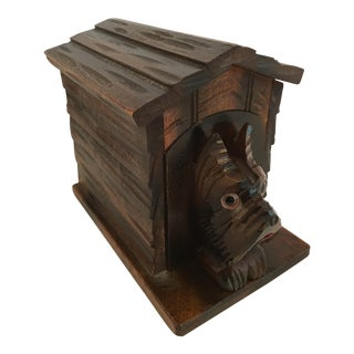 Carved Black Forest Scotty Dog Card Box