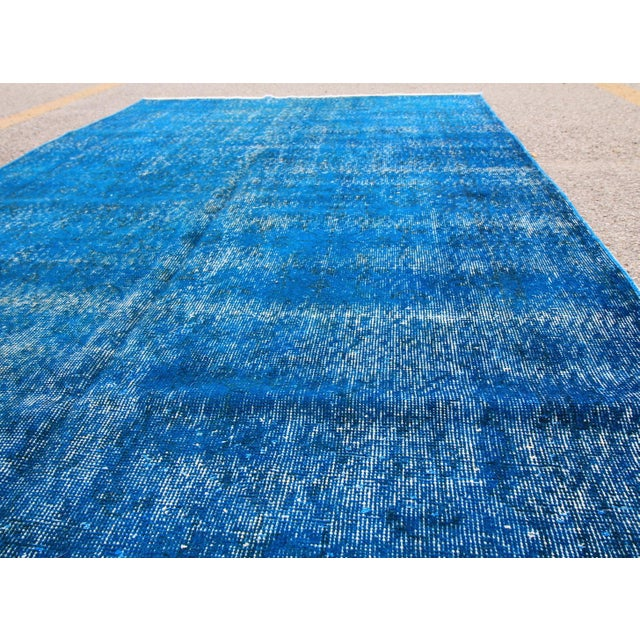 Navy Blue Overdyed Vintage Handknotted Turkish Rug 5 3