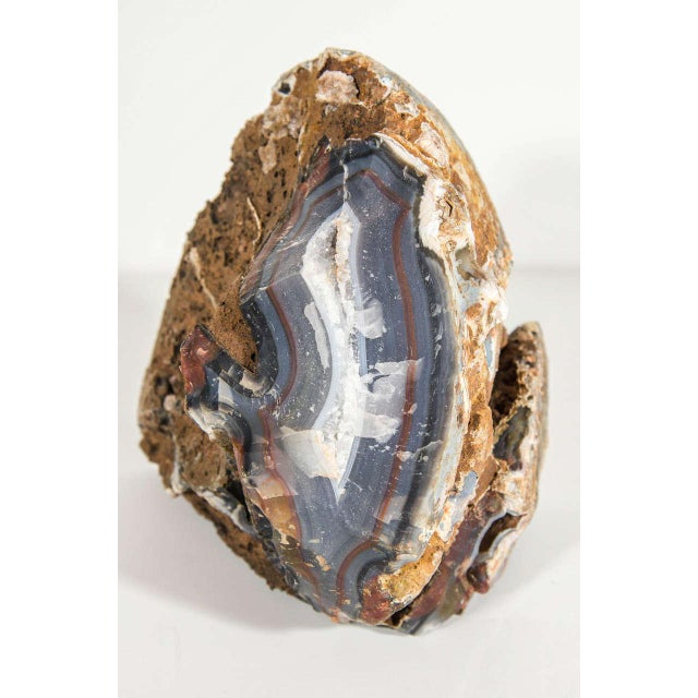 Organic Agate Stone Sculpture with Crystalline Center - Image 7 of 10