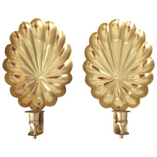 Vintage Brass Shell Candle Sconces- a Pair