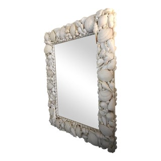 Large Rectangular Mirror with Real Shell Decor