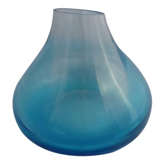 Vintage Blue Art Glass Vase