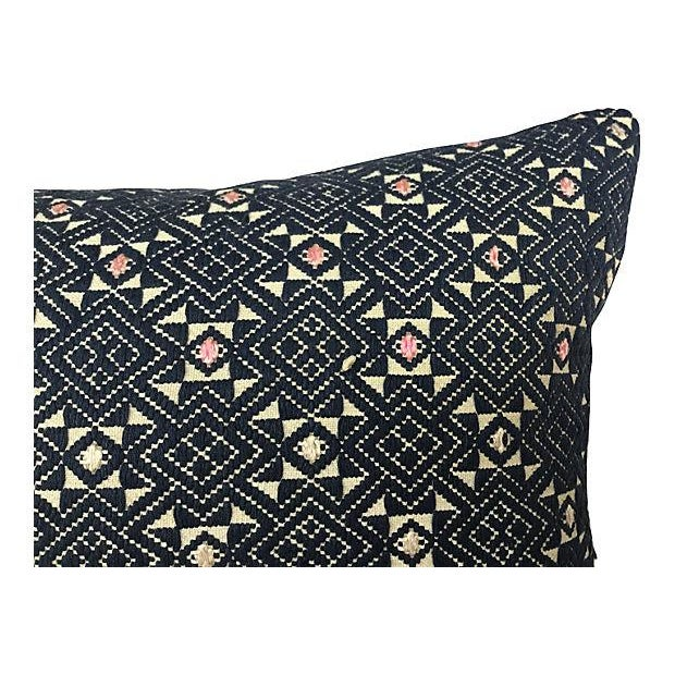 Hand-Woven Tribal Quilt Pillow - Image 2 of 4