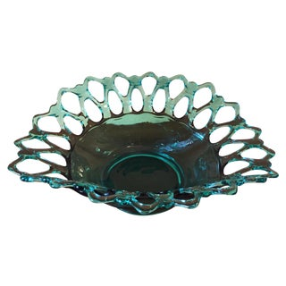 Vintage Teal Glass Lattice Rim Bowl