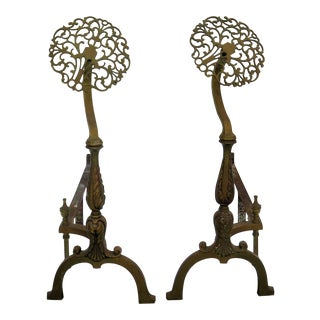 Hollywood Regency Brass Andirons- A Pair