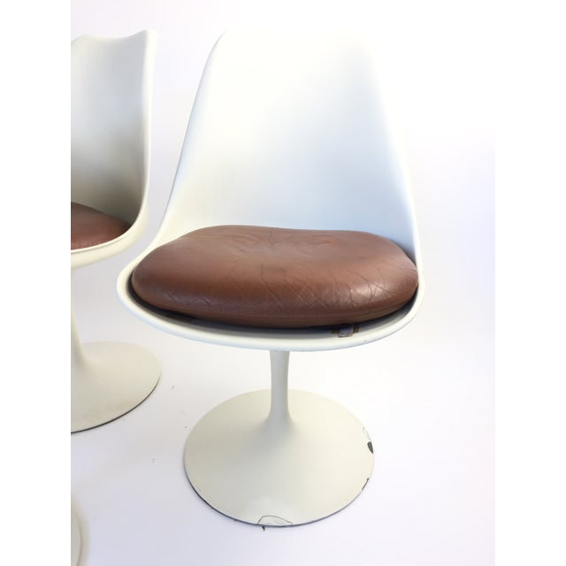 Eero Saarinen Leather Tulip Chairs - Set of 6 - Image 6 of 9
