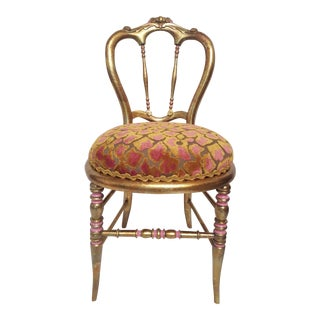 Hollywood Regency Gold-Leafed & Leopard Velvet Vanity Chair
