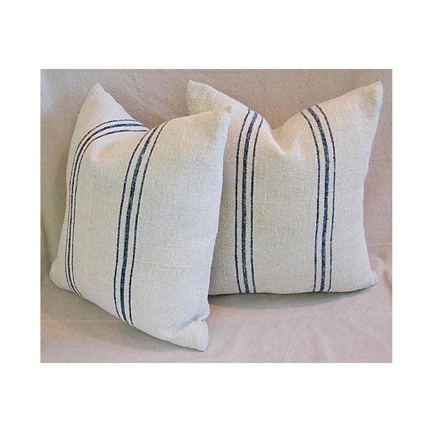 Image of French Grain Sack Textile Pillows - Pair