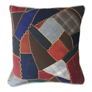 """Crazy Quilt Patchwork Pillow - 17"""" x 17"""""""