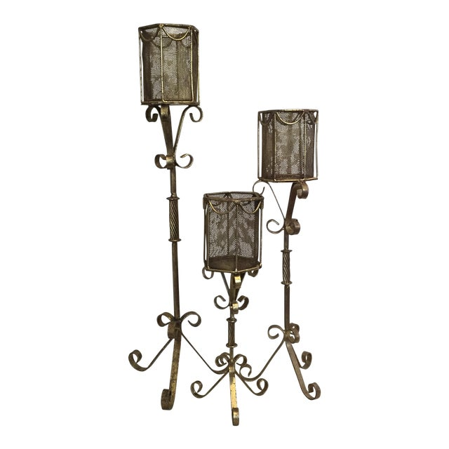Gold Hollywood Regency Candelabras - Set of 3 - Image 1 of 6