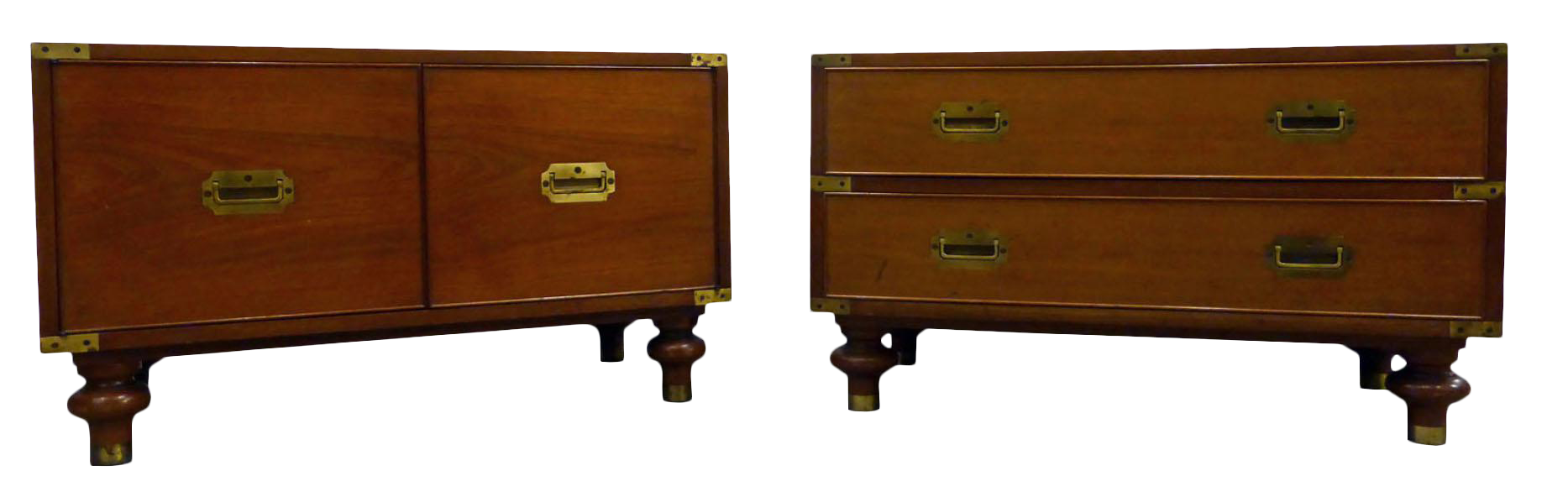 Wonderful Beacon Hill Mid Century Campaign Chests / Side Tables   A Pair