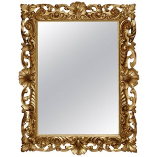 Italian Large Size Mirror with Carved Giltwood Frame from the Mid-19th Century
