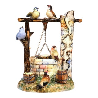 19th Century Hand-Painted Barbotine Majolica Well Sculpture With Birds Signed J. Massier