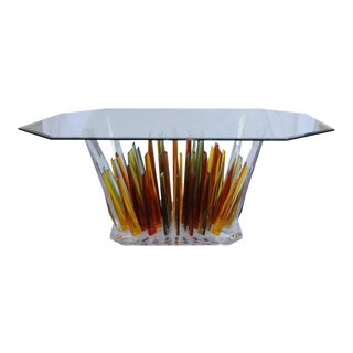 Unique Multicolored Lucite Dining Table with Glass Top