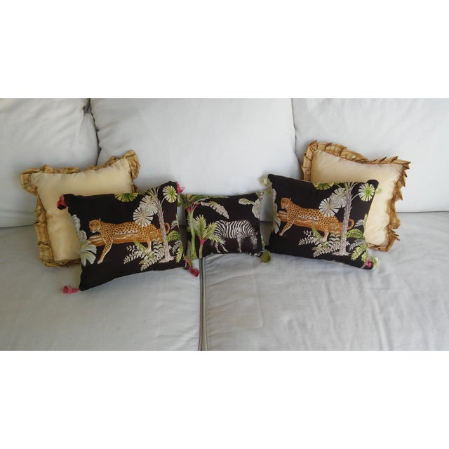 Luxe Leopards & Zebra With Taffeta Ruffled Pillows - Set of 5 - Image 2 of 9