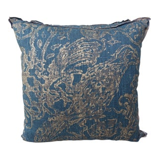 Blue Teal and Gold Stenciled Linen Pillows - A Pair