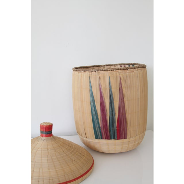 Woven Basket with Lid - Image 4 of 7
