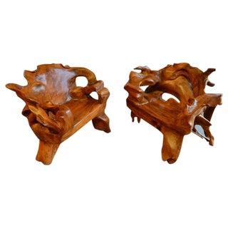 Pair of Monumental Walnut Burl Organic Lounge Chairs
