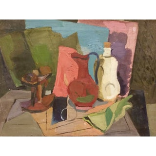 Mid-Century Abstract Still Life Oil Painting