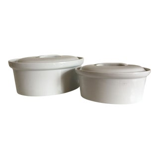 Apilco White Porcelain Casseroles - A Pair