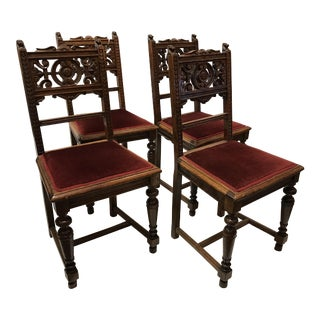Antique Victorian Dining Room Chairs - Set of 4