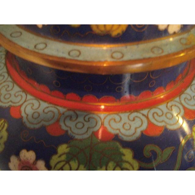 Cobalt Blue Cloisonne Covered Ginger Jar - Image 8 of 11