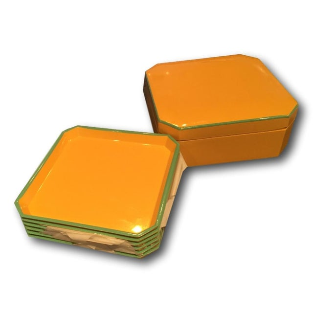 Image of Vintage Yellow & Turquoise Lacquer Coaster Set