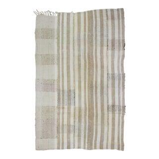 Vintage Turkish Kilim Striped Rug - 5′9″ × 6′11″