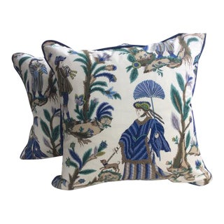 "Cowtan & Tout ""Voyagers"" Asian Inspired Cotton Print Blue & Green Pillow Covers - a Pair"