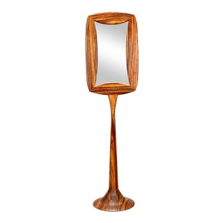 Mid-Century Zebra Wood Double Sided Pedestal Base Floor Mirror